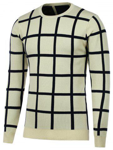 Shop Knitted Crew Neck Grid Sweater APRICOT 2XL