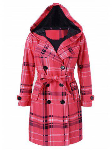 Unique Tie Belt Hooded Plaid Woolen Coat