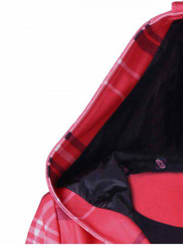 Outfits Tie Belt Hooded Plaid Woolen Coat - M RED Mobile