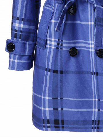 Trendy Tie Belt Hooded Plaid Woolen Coat - XL MEDIUM BLUE Mobile