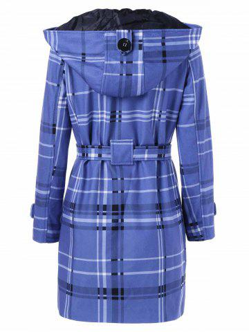 Outfits Tie Belt Hooded Plaid Woolen Coat - XL MEDIUM BLUE Mobile