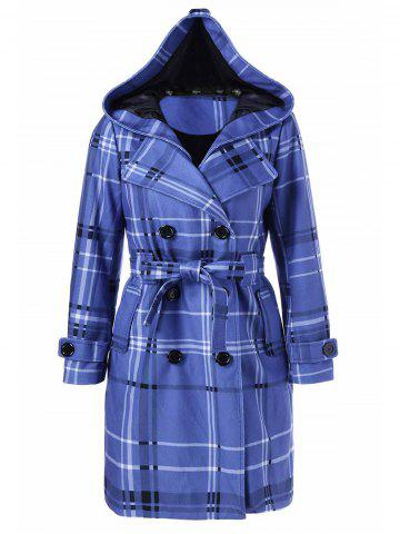Outfits Tie Belt Hooded Plaid Woolen Coat - L MEDIUM BLUE Mobile