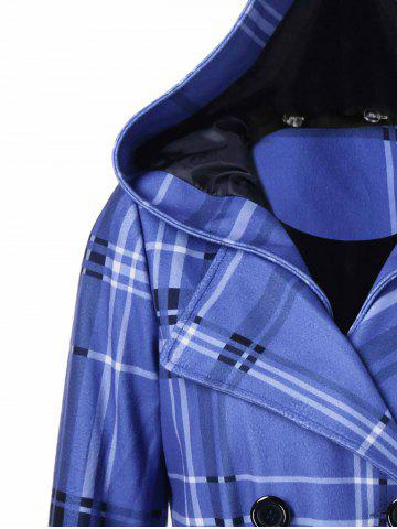 Shop Tie Belt Hooded Plaid Woolen Coat - M MEDIUM BLUE Mobile