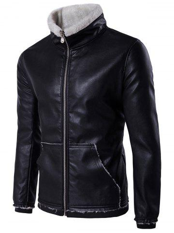 Zip Up Flocking Faux Leather Jacket