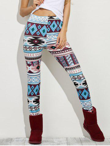 Online High Waist Geometric Skinny Aztec Print Leggings COLORMIX XL