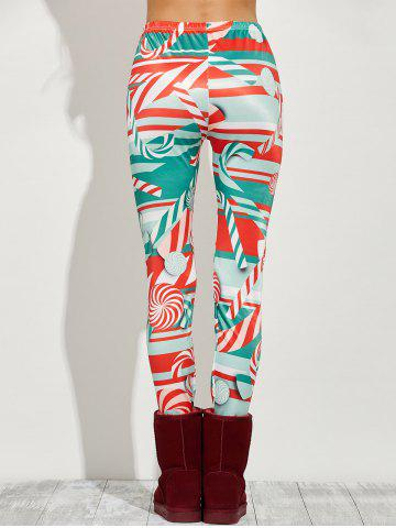 Online High Waist Skinny Christmas Candy Leggings - XL RED Mobile