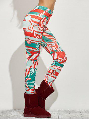 Outfit High Waist Skinny Christmas Candy Leggings - XL RED Mobile