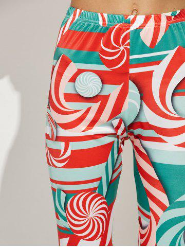 Buy High Waist Skinny Christmas Candy Leggings - XL RED Mobile