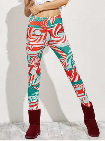 Fashion High Waist Skinny Christmas Candy Leggings - XL RED Mobile