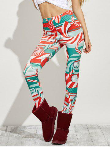 Cheap High Waist Skinny Christmas Candy Leggings - XL RED Mobile
