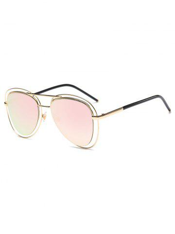 Fashion Hollow Out Rims Mirrored Pilot Sunglasses PINK