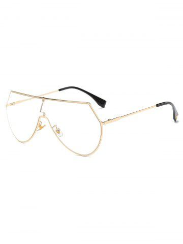 Transparent Lens Metal Wrap Sunglasses - GOLDEN