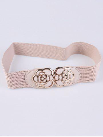 Unique Rose Carve Insert Clasp Buckle Cinch Waist Belt