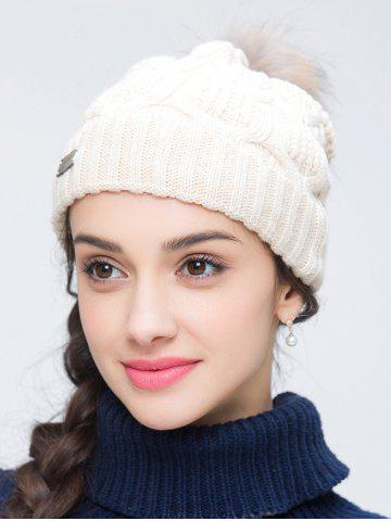 Outfit Faux Wool Crochet Pom Hat with Alloy Label OFF WHITE