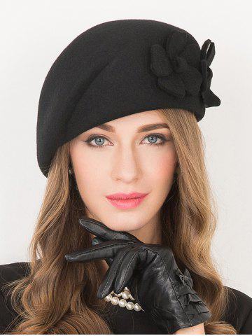 Discount Flower Applique Embellished Wool French Beret
