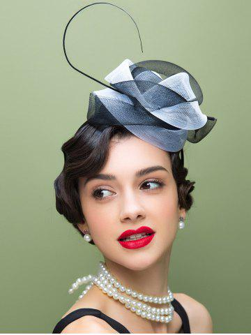 Fashion Lace Trim Fascinator Cocktail Hairband Hat WHITE AND BLACK