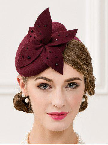 Shops Rhinestone Flower Pillbox Hairband Hat WINE RED