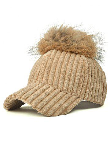 Trendy Pom Ball Embellished Corduroy Baseball Hat