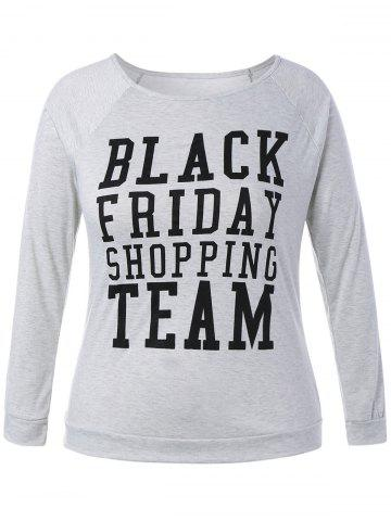 Affordable Plus Size Black Friday Long Sleeve Christmas T-Shirt LIGHT GRAY 4XL