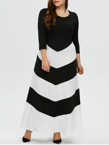 Shops Plus Size Zig Zag Maxi Evening Dress with Sleeves BLACK WHITE XL