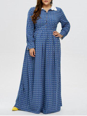 Affordable Plus Size Printed Maxi Dress BLUE 3XL