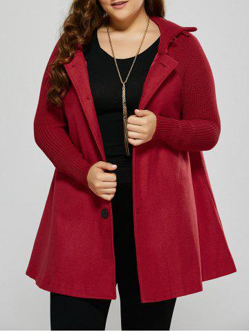 Fancy Plus Size Knitted Inset Wool Blend Coat