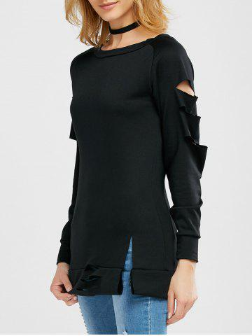 Trendy Long Sleeve Cut Out Tee BLACK XL