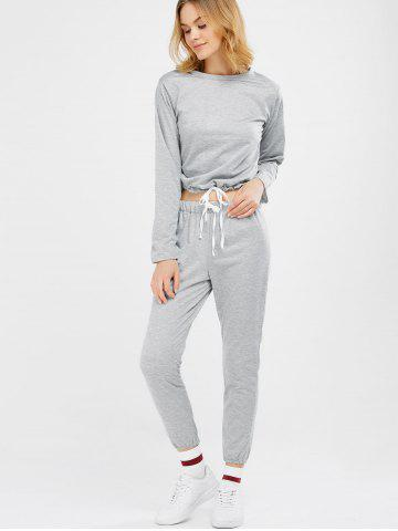 New Sports Tee With Drawstring Sports Pants - M LIGHT GRAY Mobile