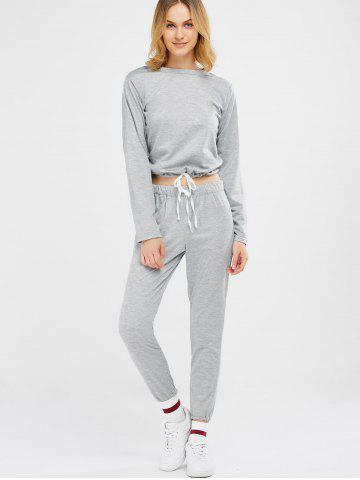 Outfits Sports Tee With Drawstring Sports Pants - M LIGHT GRAY Mobile