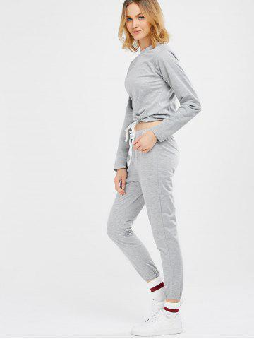 Trendy Sports Tee With Drawstring Sports Pants - M LIGHT GRAY Mobile