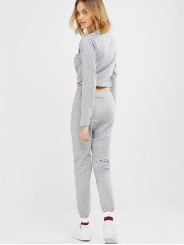 Buy Sports Tee With Drawstring Sports Pants - M LIGHT GRAY Mobile