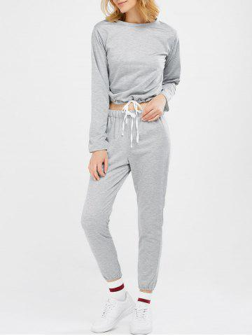 Outfits Sports Tee With Drawstring Sports Pants - S LIGHT GRAY Mobile
