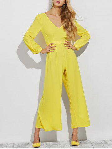 Store Plunging Neck Long Sleeve Wide Leg Jumpsuit