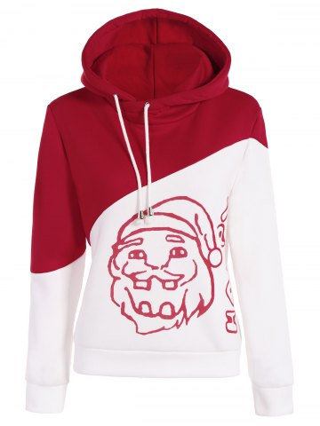 New Color Block Santa Print Christmas Hoodie RED AND WHITE XL