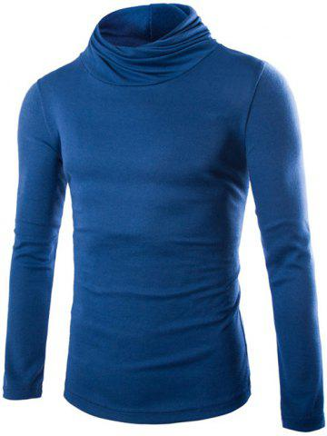 Slim Fit High Neck Pullover Knitwear - Blue - M