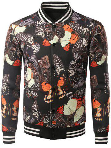 Stand Collar Button Up Butterfly Printed Jacket - Black - M