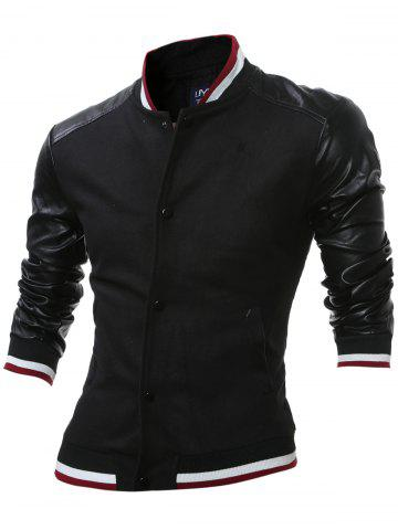 Outfit Stand Collar Button Up PU Leather Insert Jacket BLACK 2XL