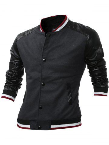 Stand Collar Button Up PU Leather Insert Jacket - Gray - M