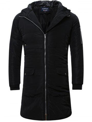 Zip Up Cuffed Hooded Padded Quilted Coat - Black - L