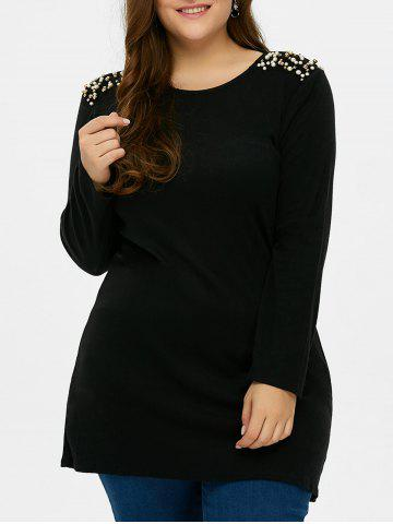 Affordable Plus Size Long Sleeves Beaded Tunic T-Shirt BLACK 5XL