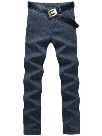 Online Zip Fly Straight Leg Heather Pants BLUE 33