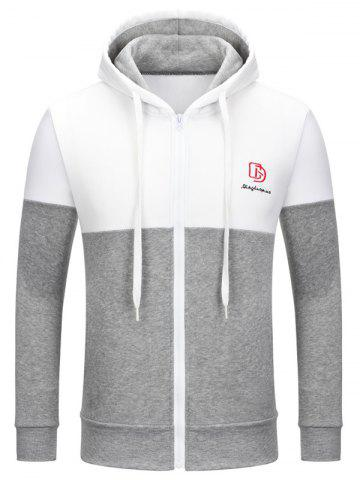 New Full Zip Color Block Embroidery Logo Hoodie WHITE 2XL