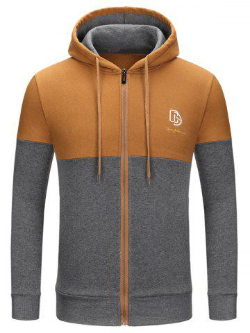 Chic Full Zip Color Block Embroidery Logo Hoodie GINGER M