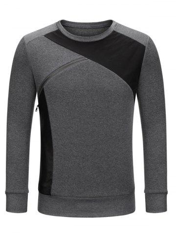 Discount Crew Neck Color Block Zip Embellished Sweatshirt DEEP GRAY 2XL