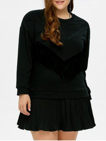 Outfit Plus Size Fringed Insert Pleated Dress