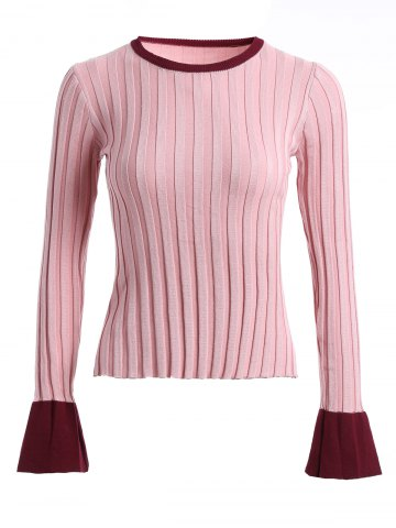 Cheap Bell Sleeve Ribbed Contrast Sweater