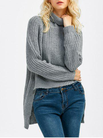 Online Chunky Asymmetrical Sweater DEEP GRAY ONE SIZE