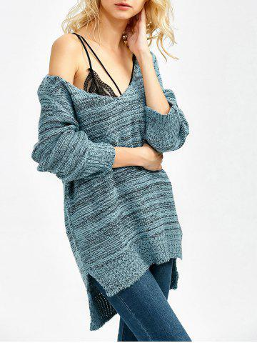 Online Heathered Asymmetrical Side Slit Sweater