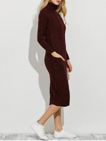 Slit Roll Neck Cable Knit Midi Jumper Dress - BURGUNDY ONE SIZE