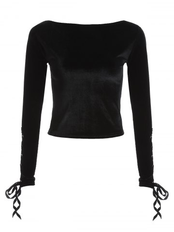 Velvet Boat Neck Lace Up Cropped Top - Black - One Size